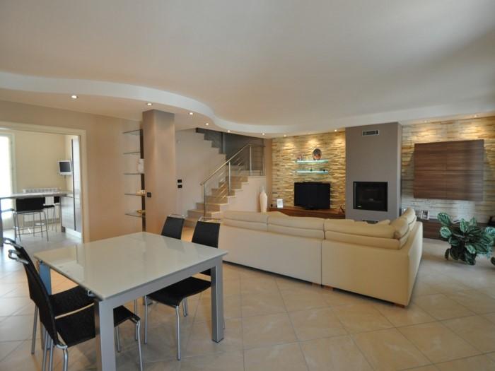 Realizzazione soggiorno e cucina brescia mastrelli for Salotto cartongesso